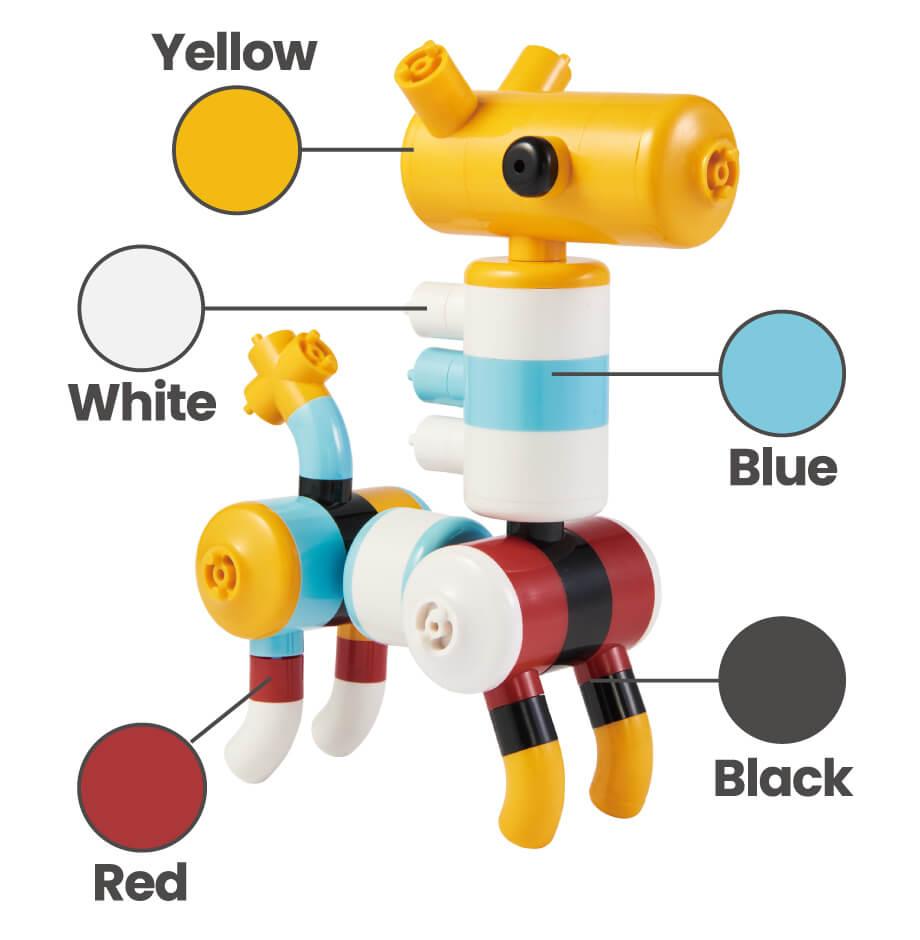 Yellow White Blue Red Black